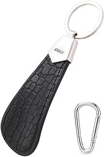 ARIALK (アリアルク) 靴べら レザー 携帯用 ビジネス 革 くつべら 短ヘラ 軽量 キーホルダー 付き 携帯