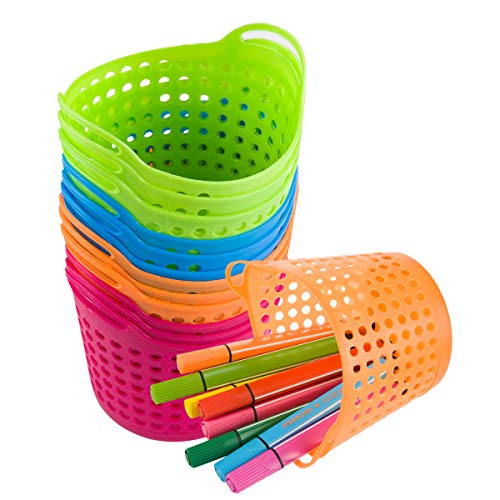 12 Pcs Round Pencil Basket- Bright Color Plastic mesh Bins Classroom Container with Handles Durable Plastic Mesh Baskets for Office Drawers Shelves Desktop