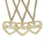 zhppac Collar de la Amistad para 3 Creativo Collar Esposa Collar Collar de la joyería Elegante Collar Encantador Collar Collar para Novia Brillante Collar Gold