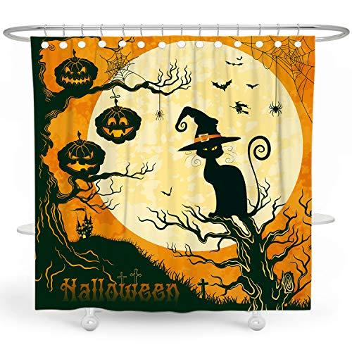 DESIHOM Halloween-Duschvorhang mit schwarzer Katze, lustiger Kürbis-Duschvorhang, Kinder-Duschvorhang, Urlaubs-Duschvorhang, Mond-Duschvorhang, Polyester, wasserdicht, 72 x 72 cm