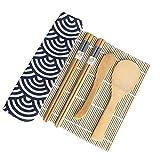DOITOOL 1 juego de 6 piezas de kit de fabricación de sushi de madera para hacer sushi con alfombrilla rodante de sushi, palillos, espátula y bolsa de almacenamiento