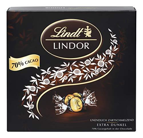 Lindt LINDOR Präsent Box Extra Dunkel 70% Kakao, Schokoladengeschenk, ca. 15 LINDOR Kugeln, 186 g