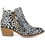 Brinley Co. Womens Faux Leather Stacked Heel Side Zip Booties Leopard, 7.5 Regular US