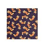 Fox Space Bandana grande cuadrada bufanda ligera impresión de seda sintética para mujer 2030001