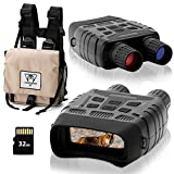 Digital Night Vision Goggles for Complete Darkness, Night Vision Binoculars for Adults with Binoculars Harness Bag and 32GB Card, Infrared Goggles for Hunting, Spy, Military, Tactical, Security Black
