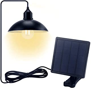 DesignSter LED Bulb Portable Solar Pendant Light - Hanging Spotlight Light with 0.8W Solar Panel 9.8ft Wire for Outdoor, Garden, Yard, Camping Tent, Fishing