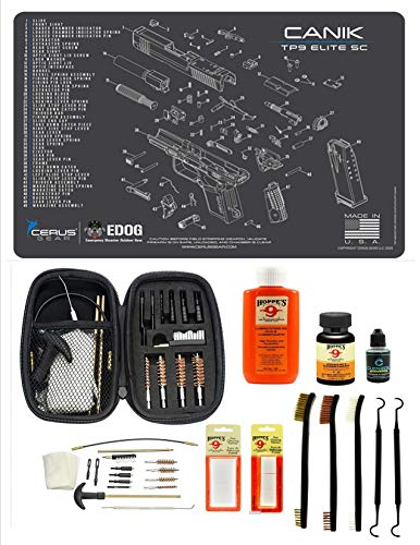EDOG Range Warrior 27 Pc Gun Cleaning Kit - Compatible with Canik TP9 Elite SC - Schematic (Exploded View) Mat, Range Warrior Universal .22 9mm - .45 Kit & Tac Book Accessories Set