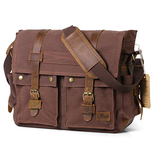 Lifewit 17.3″ Men's Messenger Bag Vintage Canvas Leather Military Shoulder Laptop Bags (Coffee)