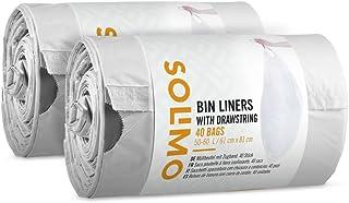 Amazon-merk: Solimo vuilniszak met trekkoord geschikt voor Brabantia Type H, 50-60 liter, (2 x 40 stuks)