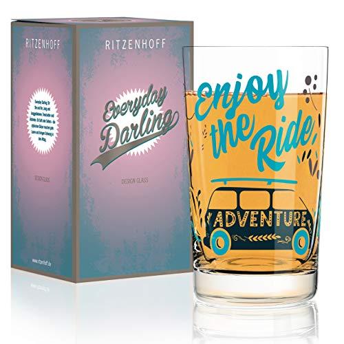 RITZENHOFF Everyday Darling Softdrinkglas von Véronique Jacquart, aus Kristallglas, 300 ml, mit trendigen Dekoren
