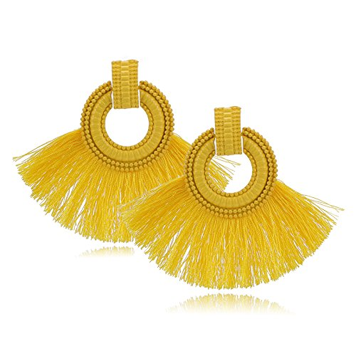 Bohemio pendientes de la borla novia roja pendientes de la boda moda temperamento salvaje geometría pendientes en forma de abanico femenino, amarillo