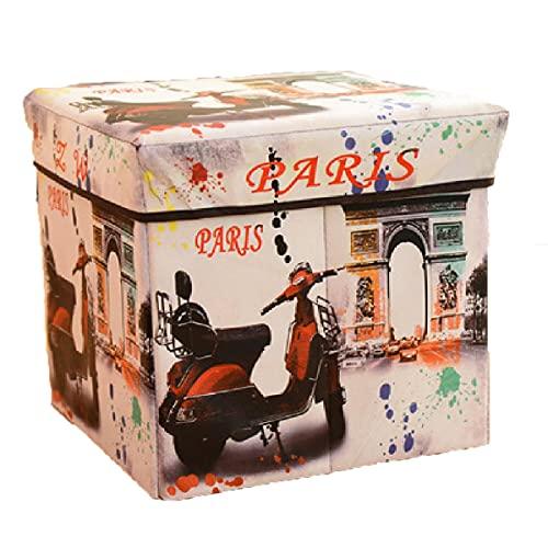 Cofre almacenamiento plegable retro,caja almacenamiento juguetes familiares,taburete almacenamiento impermeable versátil portátil para sala estar/reposapiés dormitorio 2 piezas(30x30x30cm),Retro-2 pcs