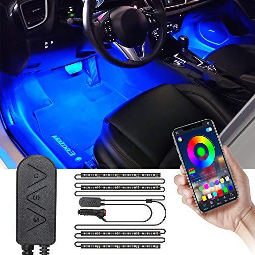 SEAMETAL LED Innenbeleuchtung Auto, RGB 48 LED Auto Streifen Licht mit APP, Wasserdicht mehrfarbig Musik LED Ambiente Beleuchtung(APP + Fernbedienung)