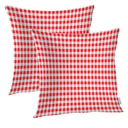 Batmerry Checkered Red Decorative Pillow Covers, 20 x 20 Inch Red Country Gingham Tablecloth Pattern Double Sided Throw Pillow Covers Sofa Cushion Cover Square 20 Inches(Set of 2)