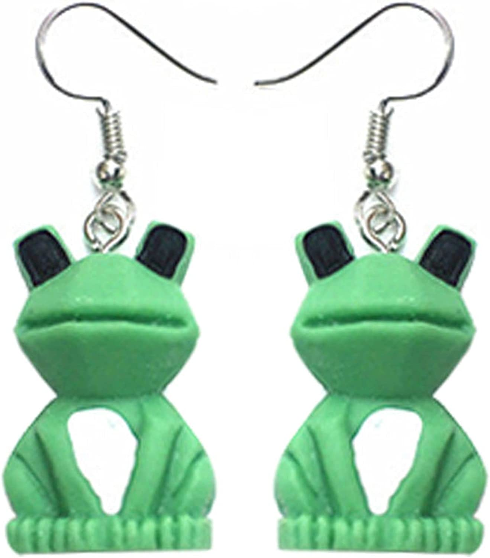 ONLYJUMP Cartoon Frog Earrings for Women Girls Creative Cute Green Animals Resin Dangle Drop Earrings