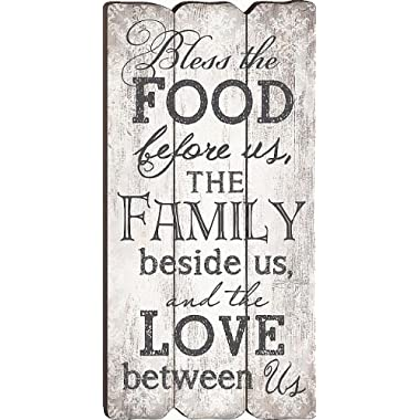P Graham Dunn Bless The Food, Family and Love Small Fence Post Wood Look Wall Art Plaque