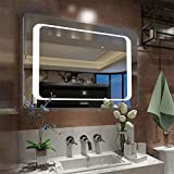 Anti-fog Bathroom Mirror, Frame less Rectangle LED Vanity Mirror for Wall Mounted Bathroom Mirror 800 x 600mm Lighted Vanity Mirror with Touch Switch
