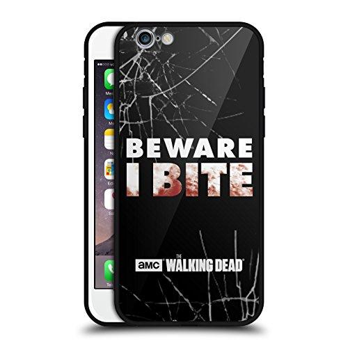 Head Case Designs Oficial AMC The Walking Dead Yo muerdo Tipografía Estuche de Cristal Híbrido Compatible con Apple iPhone 6 / iPhone 6s