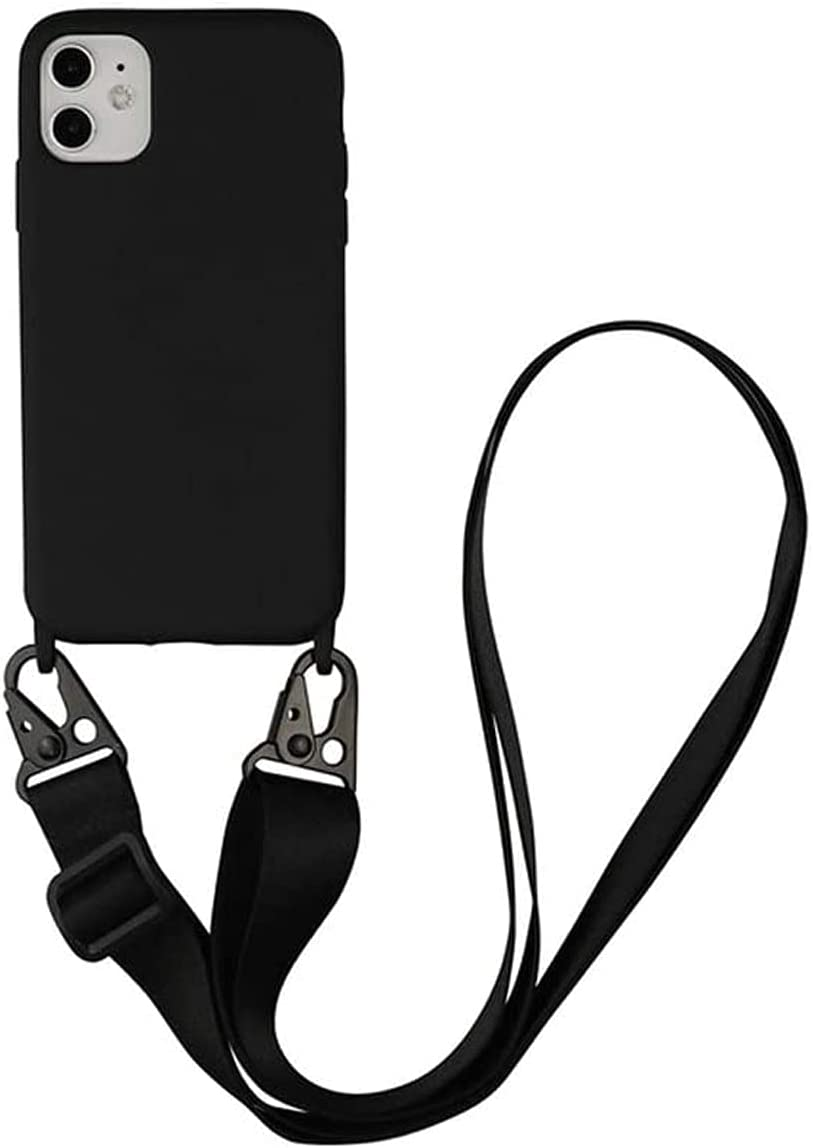 TY-Box Portable Necklace Silicone Phone Cover Compatible with iPhone 12 Model, Soft Cell Phone Protective Cover+Adjust Crossbody Lanyard Case for iPhone 12 Pro Max 6.7 inch (Black, 12 Pro Max)