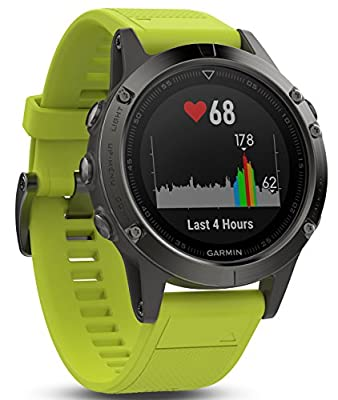 Garmin f?nix 5, Premium and Rugged Multisport GPS Smartwatch, Slate Gray W/ Yellow Band