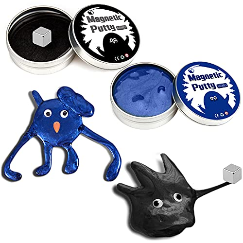 2 Pack Magnetic Slime Putty, Magnetic Putty with Magnet for Kids Science, Stress Relief Fidget Toy for Adults-Blue,Black