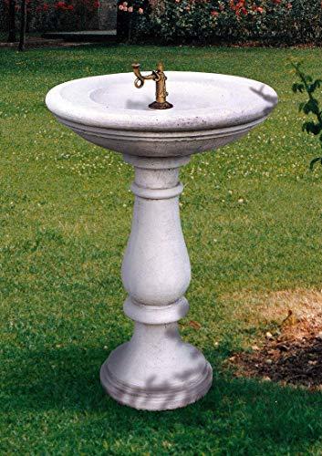 pompidu-living Standbrunnen Milano - Brunnen aus Marmor in echter Handarbeit - Der ideale Gartenbrunnen in Terracotta, Höhe 94 Ø 67