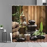 XCBN Wasserpflanzen Landschaft Duschvorhang Grün Bambus Blumen Buddha Home Badezimmer Dekor Display wasserdichte Gardinen A4 180x180cm