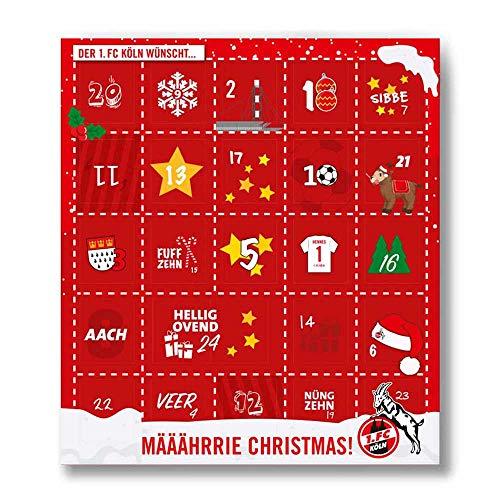 Premium Schoko-Adventskalender – Der lustige Weihnachts-Countdown bis Heilig Abend aus Fairtrade-Kakao + Mannschaftsposter/Fanposter (200 g) (1. FC Köln)