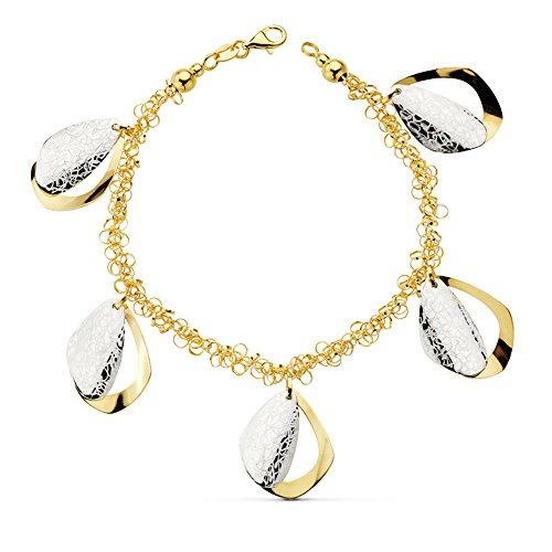 Alda Joyeros Pulsera de Mujer de Mujer Oro Bicolor 18k Abalorios Hojas