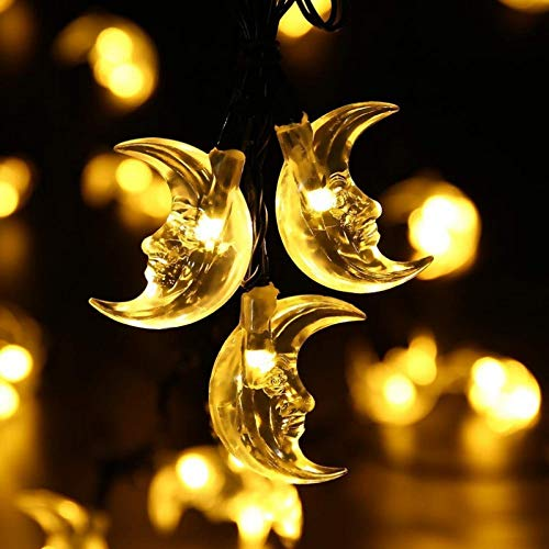 Solar Moon Elderly String Lights 7m 50LED Outdoor Garden Garden Waterproof String Lights Holiday Decoration String Lights Warmwhite