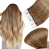 Full Shine Seamless Tape On Hair Extensions 18 Inch Double Sided Tape Hair Extensions Balayage Color 10 Golden Brown Fading To 14 Golden Blonde Glue In Hair Extensions 50 Gram Skin Weft Human Hair