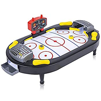 Gamie Hockey Tabletop Game Desktop Sports Game with Mini Hockey Table 2 Pucks and Scoreboard Fun Indoor Games for Home Office and Game Night Best Gift Idea for Kids