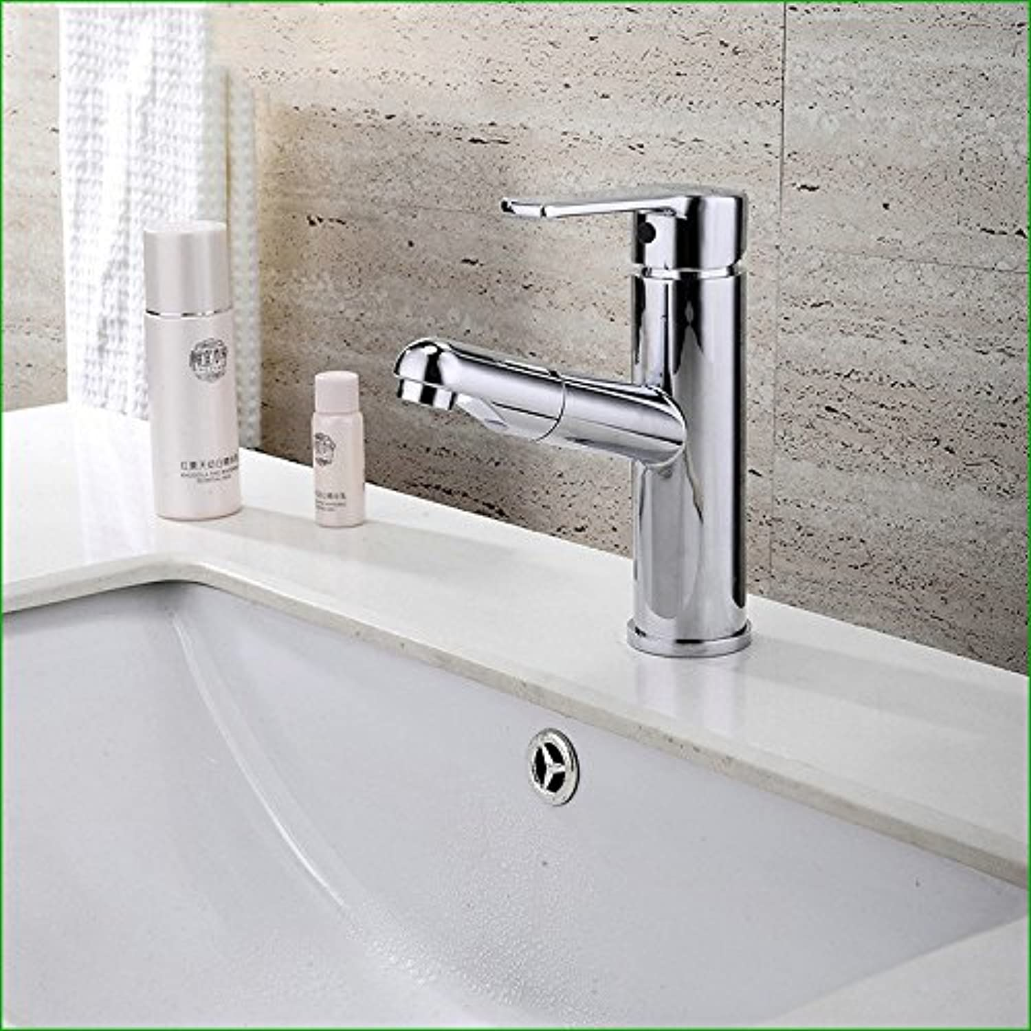 Kokeruup Sink Faucet Pull Out Copper   Chrome Bathroom     Basin Faucet     hot and Cold Water Mixed Water Pull Faucet Mixing Faucet