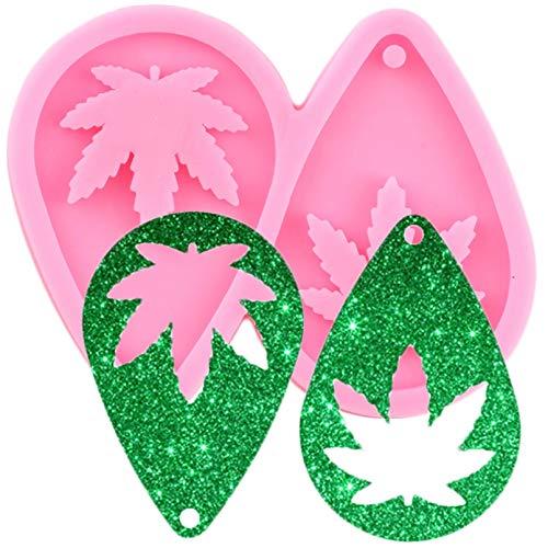 FGHHT LOlla Hoja cáñamo lágrima Pendientes de aro DIY moldes de Silicona epoxi joyería de Moda Colgante de Resina de Marihuana Molde Artesanal