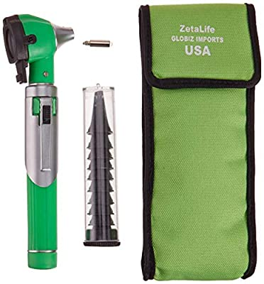 ZetaLife Otoscope - Ear Scope with Light, Ear Infection Detector, Pocket Size (Green Color)