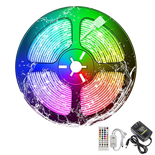 Viudecce Tira de Luces Led 5M Rgb 5050 Smd Cinta Flexible Impermeable para Barra Hogar Decoración Enchufe de la Ue