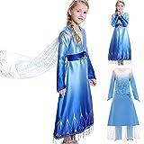 yeesn Disfraz de Princesa Elsa para niñas, Abrigo B, 110 cm