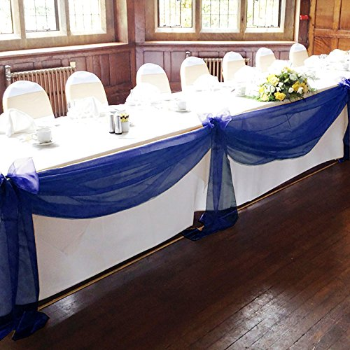 """Vlovelife Navy Blue 197""""x53"""" Sheer Organza Top Table Swag Fabric Table Runner Chair Sash Wedding Car Party Stair Bow Valance Decorations"""