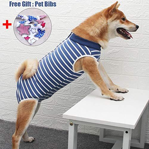 Dog Surgical Recovery Suit Bauchwundenschutz, After Surgery Wear, E-Collar Alternative für Hunde, Heimtierbekleidung (XS, Blaue und weiße Streifen)