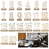 ROSENICE 20 soportes de madera para números de mesa de boda 1-20.