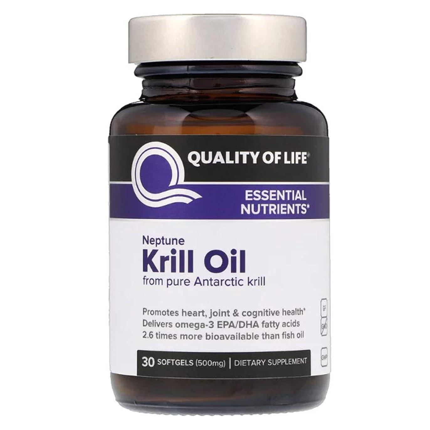 影響力のある若さ静脈Quality of Life Labs ネプチューンクリルオイル 必須栄養素 500 mg ソフトジェル 30個 【アメリカ直送】