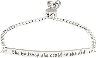 A N KINGPiiN She Believed She Could So She Did - Pulsera de cadena ajustable con mantra de plata, personalizable, grabado,...