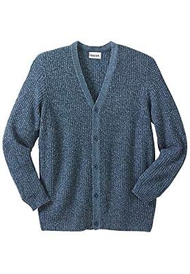 KingSize Men's Big & Tall Shaker Knit V-Neck Cardigan Sweater - Tall - XL, Navy Marl from KingSize