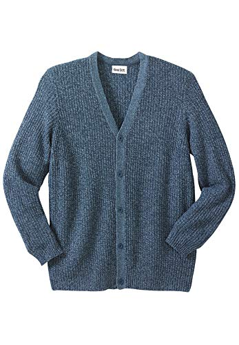 KingSize Men's Big & Tall Shaker Knit V-Neck Cardigan Sweater - Tall - XL, Navy Marl