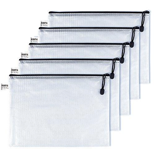 Kuuqa A4 Größe Mesh Zipper File Taschen Wasserresistent Dokument Taschen für Kosmetik Bürobedarf Zubehör (5 Stück)
