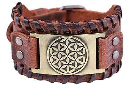 Vassago Amuleto infinito de la flor de la vida antiguo egipcio Sagrado geometría encanto pulsera de cuero marrón regalo joyas para hombres
