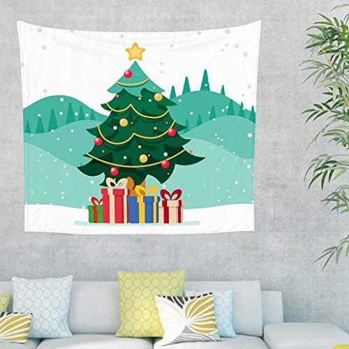 Toomjie Weihnachtsbaum Tapestry Wandbehang Picnic Beach Sheet Throw Bedspread, Quality Hippie für Schlafzimmer Wohnzimmer White 100x150cm