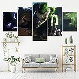 FBYSH 5 stampe su tela soggiorno Camera da letto Personaggio del film horror verde 200*100cm senza telaio 5 pezzi stampe d arte 5 pezzi di tela Ragazzo Quadro su tela decorazione Ragazza murale Immagi
