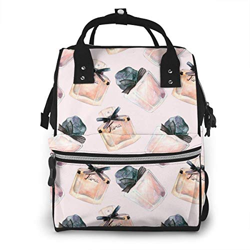 UUwant Sac à Dos à Couches pour Maman Watercolor Makeup Seamless Pattern Girls Beauty Elements on Rose Gold Diaper Bags Large Capacity Diaper Backpack Travel Nappy Bags Mummy Backpackling