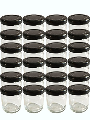 28er Set leere Rundgläser Mini Gläser 53 ml Deckelfarbe Schwarz To 43 Sturzgläser Honig Marmeladengläser Einweckgläser Einmachgläser, Probiergläser, Imker Honiggläser